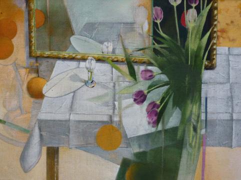 Tulpen, Spiegel, 2015, Acryl auf Leinwand, 90 x 120 cm