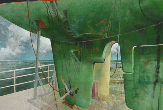 Unterwasserschiff, 2015, Acryl auf Leinwand, 130 x 190 cm