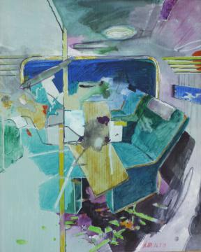 Abteil I, 2013, Acryl, Gouache und Farbstift auf Papier, 30.5 x 24.3 cm
