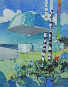 Camping, 2013, Gouache, Acryl und Farbstift auf Papier, 30.5 x 24.3 cm