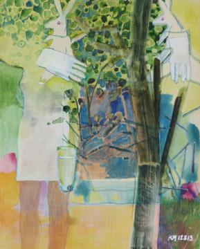 Gartentheater, 2013, Gouache, Acryl und Farbstift auf Papier, 30.5 x 24.3 cm