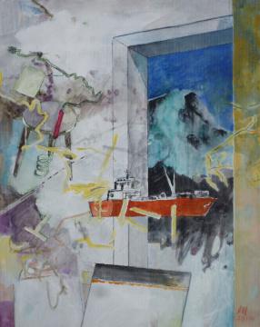 Ausfahrt, 2014, Gouache, Acryl und Farbstift auf Papier, 30.5 x 24.3 cm