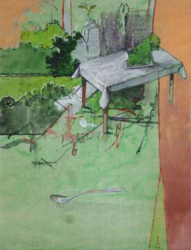 Central Park, 2014, Acryl, Gouache und Farbstift auf Papier, 29.5 x 22.5 cm
