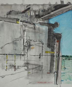 Zerstörer, 2014, Gouache und Farbstift auf Papier, 30 x 24.5 cm