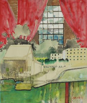 Markthalle Wismar, 2014, Gouache und Farbstift auf Papier, 31 x 24.5 cm