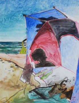 Strandmuschel I, 2014, Gouache und Farbstift auf Papier, 29.5 x 22.5 cm