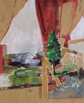Modellbahnwelt, Wismar, 2014, Gouache und Farbstift auf Papier, 28 x 23 cm
