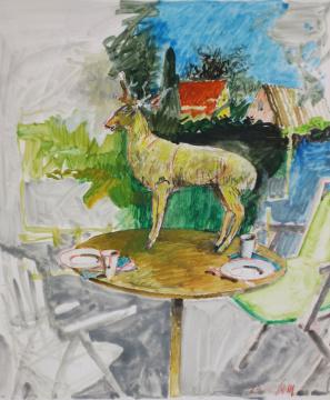 Zum Frühstück, 2014, Gouache und Farbstift auf Papier, 29 x 24.5 cm