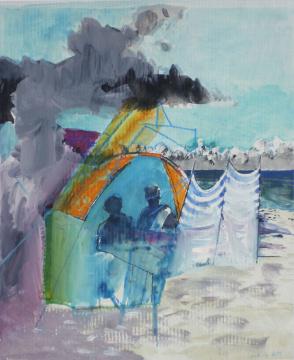 Strandmuschel II, 2014, Gouache und Farbstift auf Papier, 31 x 24.5 cm