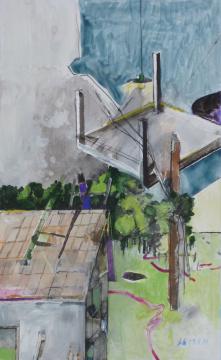 UFO, 2014, Acryl, Gouache und Farbstift auf Papier, 29.5 x 18 cm