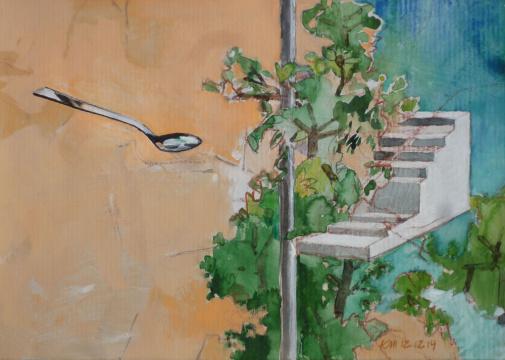 Rosige Zeiten, 2014, Acryl, Gouache und Farbstift auf Papier, 21.7 x 30.5 cm