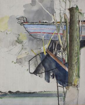 Boot, Baum, 2015, Gouache und Farbstift auf Papier, 30.5 x 24.5 cm