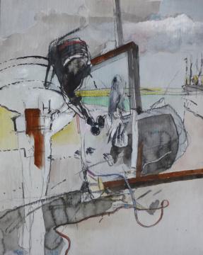 Außenbord, 2015, Gouache und Farbstift auf Papier, 30.5 x 24.5 cm