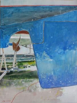 Ruder, 2015, Gouache und Farbstift auf Papier, 30.5 x 22.7 cm