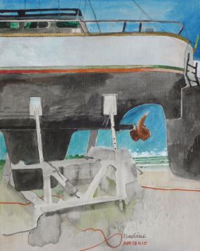Festgelegt, 2015, Gouache und Farbstift auf Papier, 30.5 x 24.5 cm