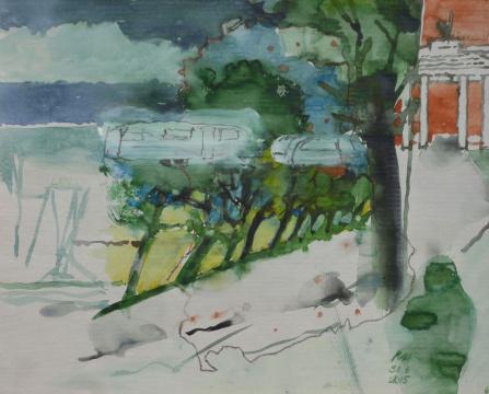 Allee II, 2015, Gouache und Farbstift auf Papier, 24.5 x 30.5 cm