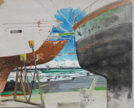 Meer dazwischen, 2015, Gouache und Farbstift auf Papier, 24.5 x 30.5 cm