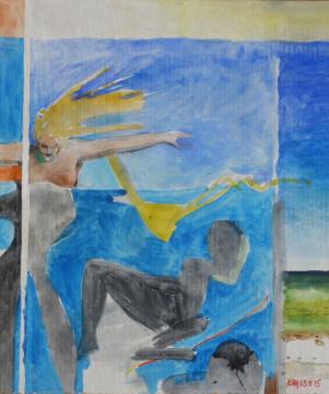 Windschutz-Theater, 2015, Gouache auf Papier, 25 x 21 cm