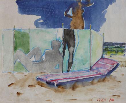 Mit Luma, 2015, Gouache und Farbstift auf Papier, 24.5 x 30.5 cm