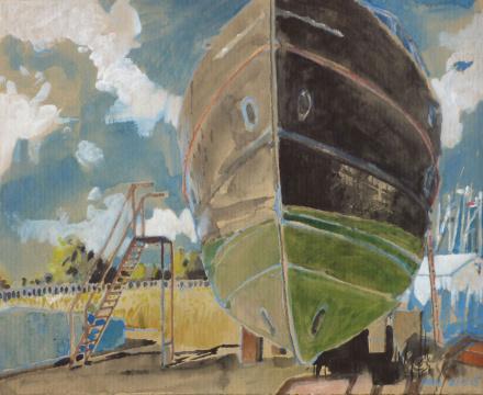 Werft Barth, 2015, Gouache und Farbstift auf Papier, 24.5 x 30.5 cm