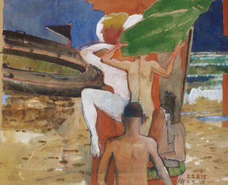 Strand mit Max, 2015, Acryl, Gouache und Farbstift auf Papier, 24.5 x 30.5 cm