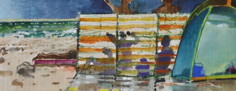 Gegenlicht, 2015, Gouache und Farbstift auf Papier, 7 x 19 cm