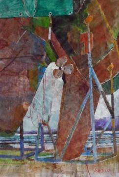 Rost, 30.01.2017, Gouache und Farbstift auf Papier, 27,0, x 18,5 cm