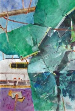 Plane, 03.02.2017, Gouache und Farbstift auf Papier, 27,0, x 18,5 cm