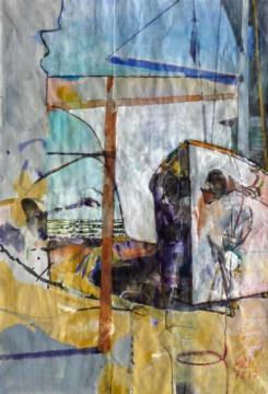 Kiel, 07.02.2017, Gouache und Farbstift auf Papier, 27,0, x 18,5 cm