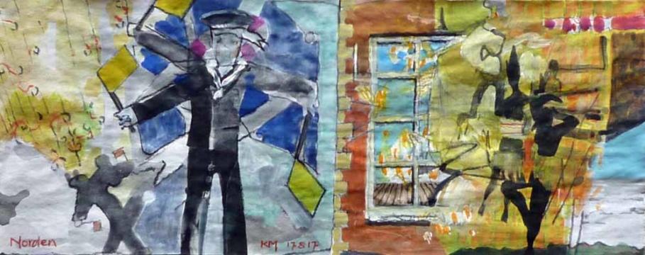 Norden, 17.08.2017, Gouache, Acryl und Farbstift auf Papier, 12,0 x 30,0 cm