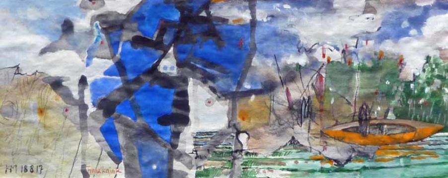 Franz´ Kajak, 18.08.2017, Gouache, Acryl und Farbstift auf Papier, 12,0 x 30,0 cm