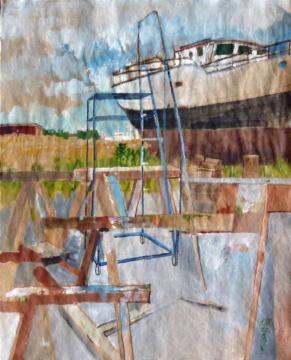 Werft, Barth, 22.08.2017, Gouache, Acryl und Farbstift auf Papier, 30,0 x 24,0 cm