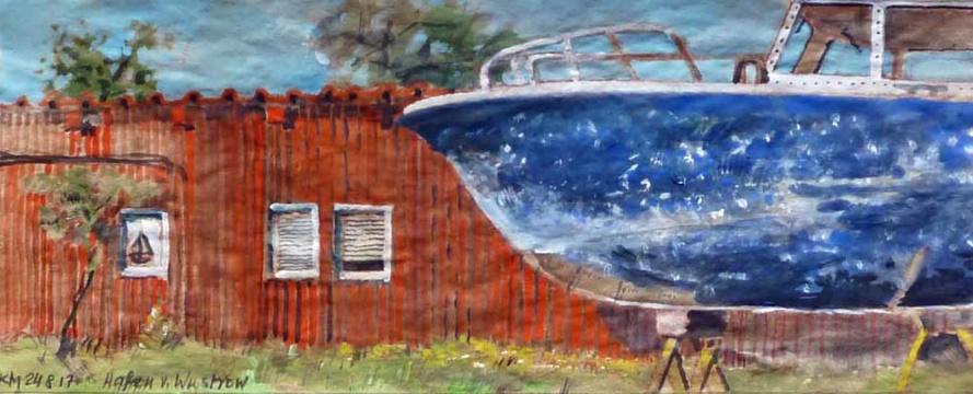 Hafen, Wustrow, 24.08.2017, Gouache, Acryl und Farbstift auf Papier, 12,0 x 30,0 cm