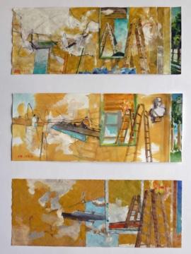"""3 Skizzen zu """"Flur"""", 07.09.,29.09.,10.11.2017, Acryl, Gouache und Farbstift auf Papier, 12,0, x 30,0 cm"""