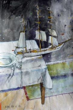 Heterotopisch, 28.12.2017, Gouache, Acryl und Farbstift auf Papier, 25,0, x 17,0 cm
