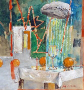 Stilleben, 13.12.2017, Gouache, Acryl und Farbstift auf Papier, 25,7 x 24,0 cm