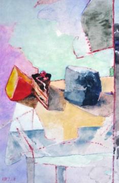 Keile, 03.01.2018, Gouache und Farbstift auf Papier, 25,0 x,16,5 cm