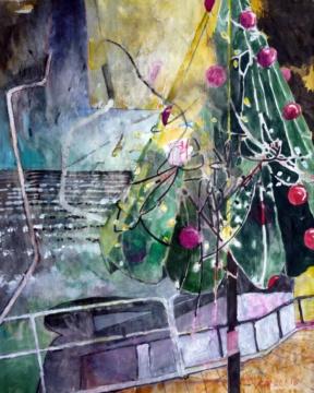 Weihnachts-Schirm, 20.01.2018, Acryl, Gouache und Farbstift auf Papier, 30,0 x 24,0 cm