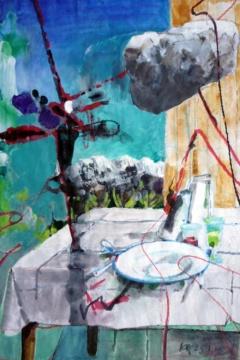 Bedrohung, 25.01.2018, Acryl, Gouache und Farbstift auf Papier, 25,0 x 17,0 cm
