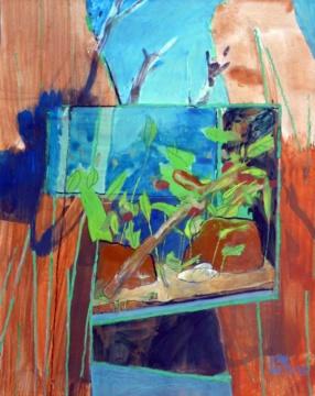 Besuch in Hamburg, 24.07.2018, Acryl, Gouache und Farbstift auf Papier, 31,0 x 24,5 cm