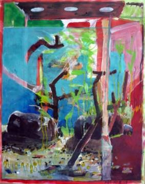 Aquarium I, 10.08.2018, Acryl, Gouache und Farbstift auf Papier, 30,5 x 24,5 cm