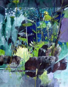 Aquarium II, 11.08.2018, Acryl, Gouache und Farbstift auf Papier, 30,5 x 24,0 cm