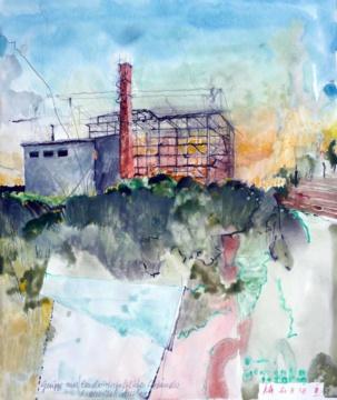 Redewisch, 27.08.2018, Gouache und Farbstift auf Papier, 31,0 x 24,5 cm