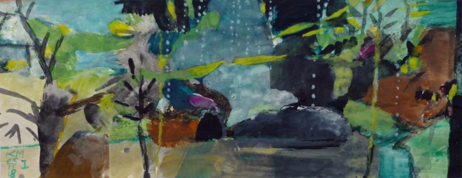 Aquarium 1, 19.11.2018, Acryl, Gouache, Farbstifte auf Papier, 9 x 23 cm