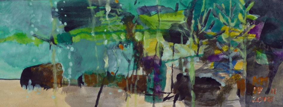 Aquarium 3, 25.11.2018, Acryl, Gouache, Farbstifte auf Papier, 9 x 23 cm