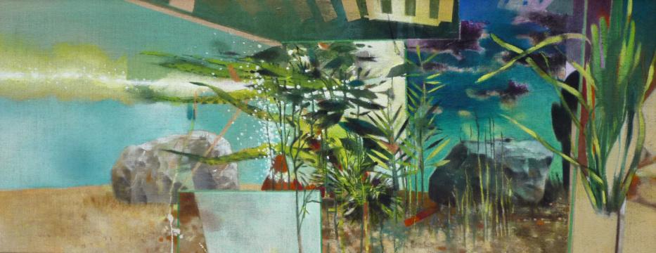 Großes Aquarium, 2018, Acryl auf Leinwand, 70 x 180 cm