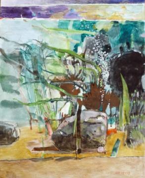 Aquarium, Profil, 18.01.2019, Gouache, Acryl und Farbstift auf Papier, 31,0 x 24,5 cm