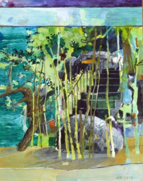 Aquarium, Treppe, 10.02.2019, Gouache, Acryl und Farbstift auf Papier, 31,0 x 24,5 cm