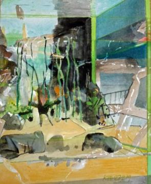 Aquarium, Tauchgang, 27.02.2019, Gouache, Acryl und Farbstift auf Papier, 29,5 x 24,0 cm