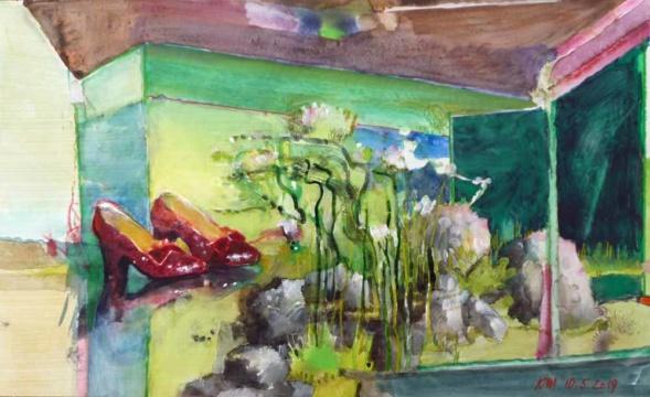 Aquarium, Schuhe, 10.05.2019, Gouache, Acryl und Farbstift auf Papier, 23,0 x 38,0 cm